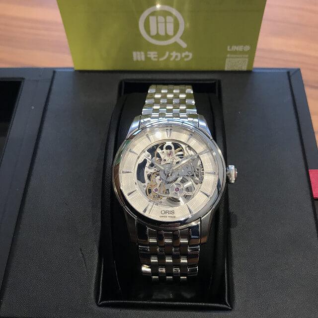 長野県のお客様からオリスの腕時計【アートリエスケルトン】を買取_01