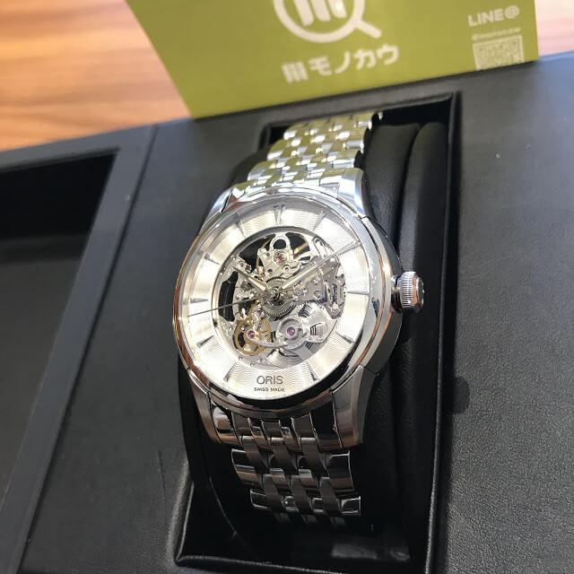長野県のお客様からオリスの腕時計【アートリエスケルトン】を買取_02