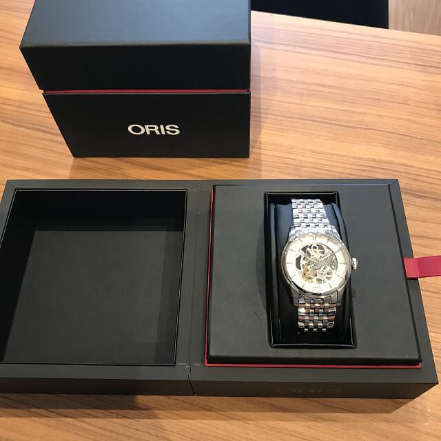 長野県のお客様からオリスの腕時計【アートリエスケルトン】を買取_03