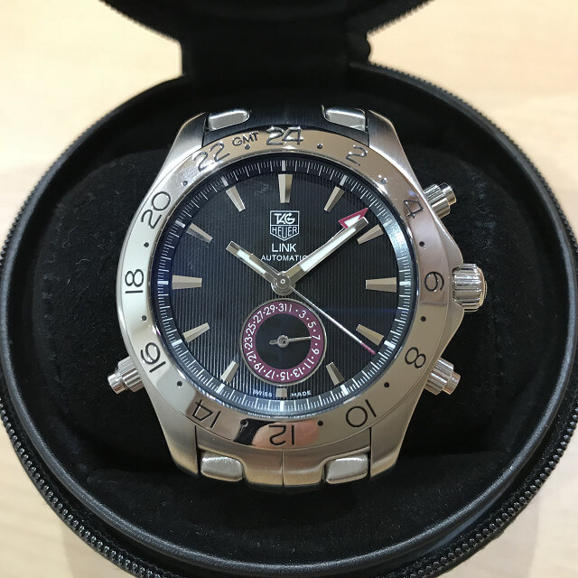 今里のお客様からタグホイヤーの腕時計【リンク GMT】を買取_02