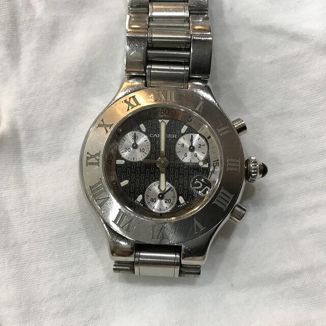 石橋のお客様からカルティエの腕時計【マスト21 クロノスカフ】を買取_02