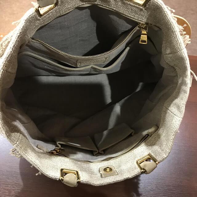 神田からプラダの麻トートバッグを買取_03