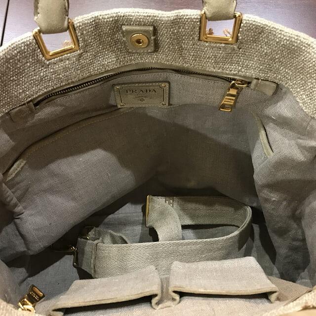 神田からプラダの麻トートバッグを買取_04