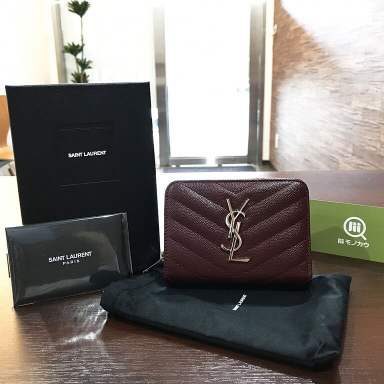 箕面のお客様からサンローランのYSLロゴ ラウンドファスナー長財布を買取_01