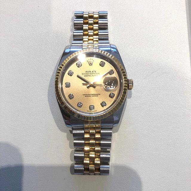 難波のお客様からロレックスの腕時計【デイトジャストコンビ】を買取_02