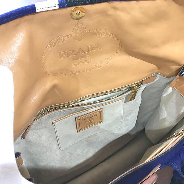 鴫野のお客様からプラダのボーダーのハンドバッグを買取_03