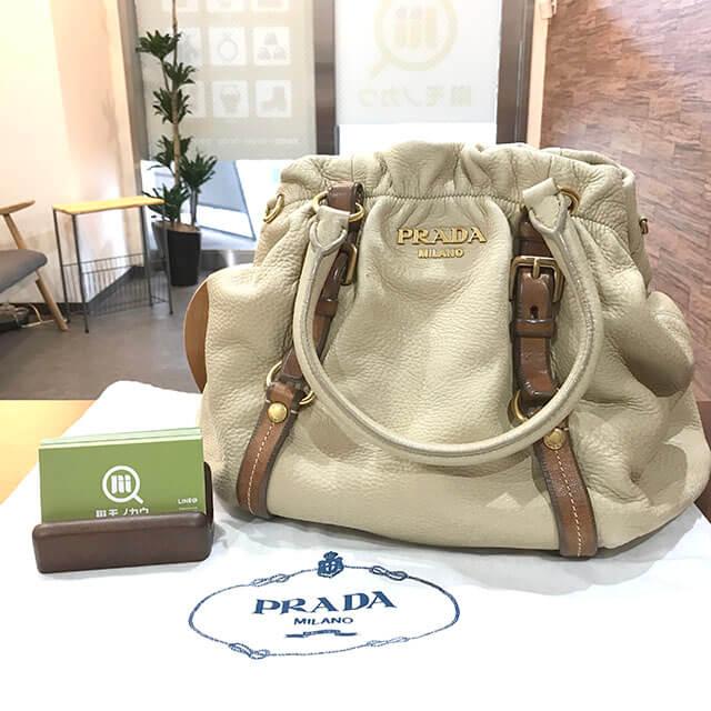 川口のお客様からプラダのレザーハンドバッグを買取_01