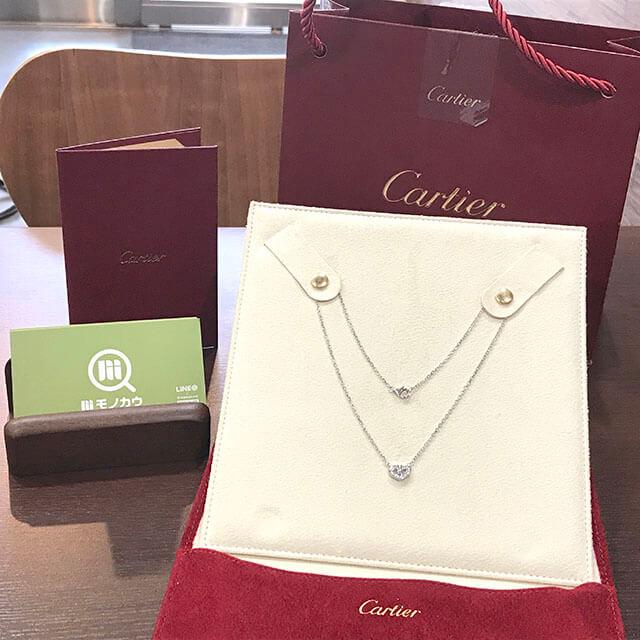 東大阪のお客様からカルティエのCハートフルダイヤネックレスを買取_02