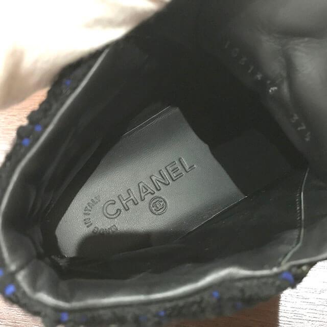 芦屋のお客様からシャネルのツイード×レザーのスニーカーを買取_04
