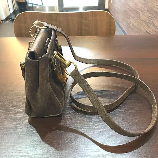 奈良のお客様からグッチのスエードショルダーバッグを買取_02
