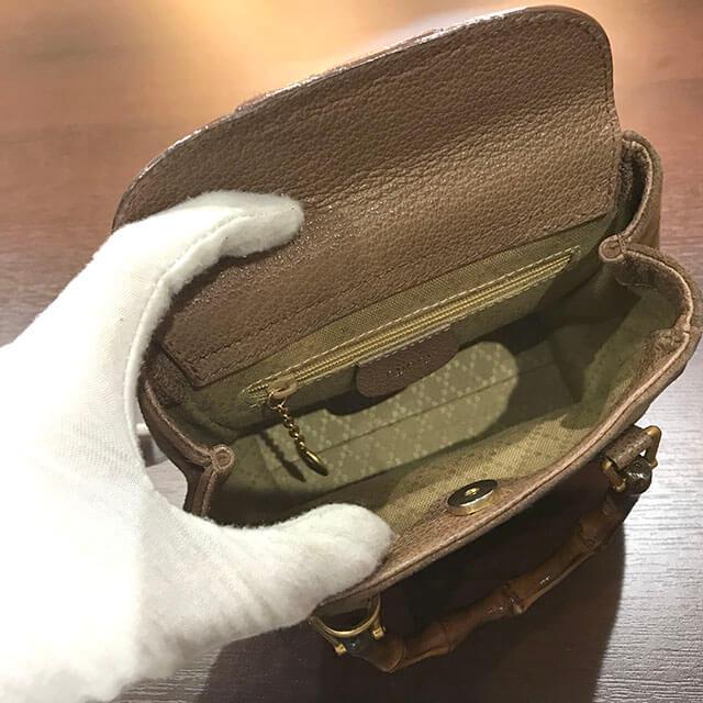 奈良のお客様からグッチのスエードショルダーバッグを買取_03