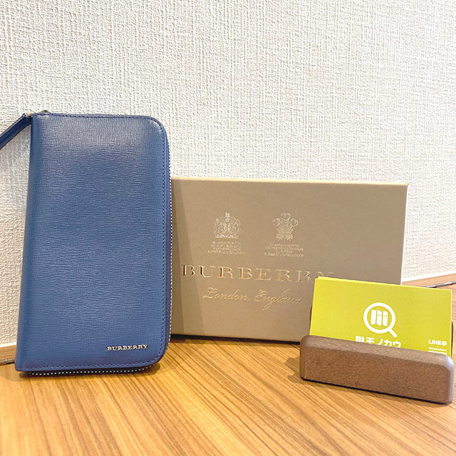 上本町のお客様からバーバリーのラウンドファスナー長財布を買取_01