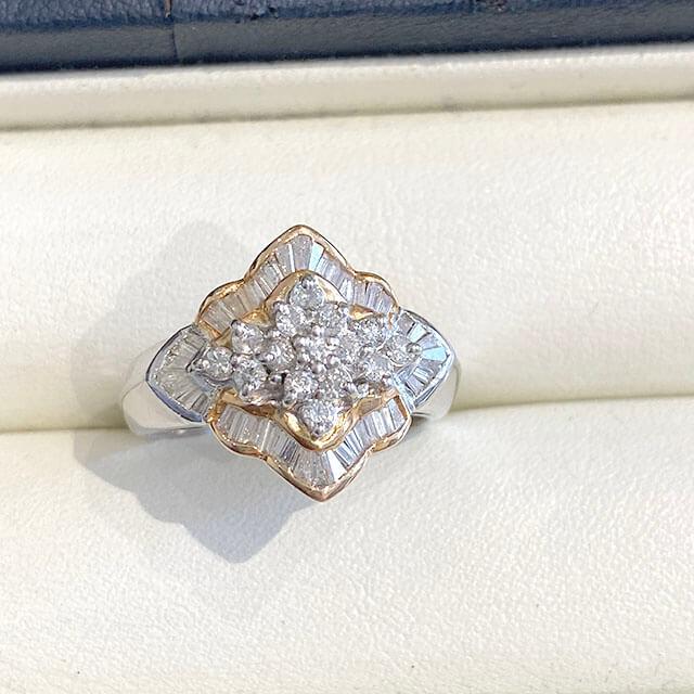 桃谷のお客様からダイヤモンドのプラチナデザインリングを買取_02