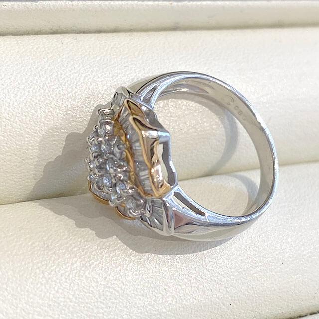 桃谷のお客様からダイヤモンドのプラチナデザインリングを買取_04