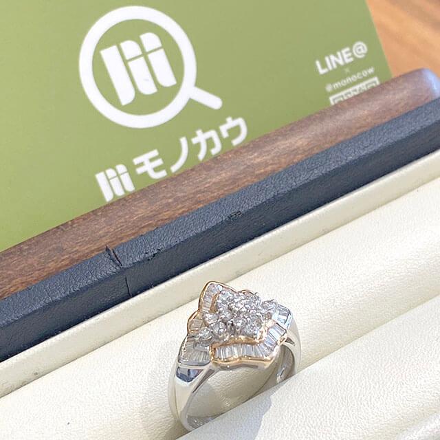 桃谷のお客様からダイヤモンドのプラチナデザインリングを買取_01