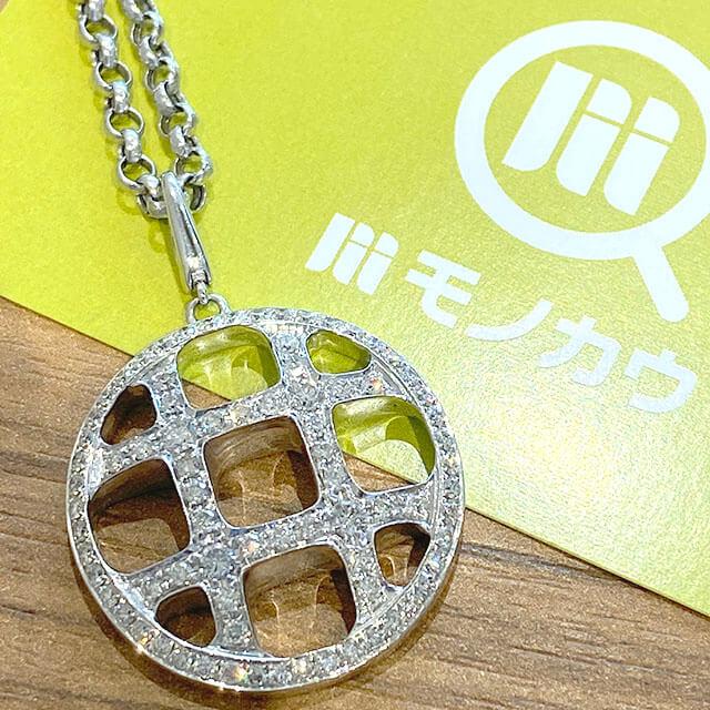 森ノ宮のお客様から18金ホワイトゴールドのダイヤ付きネックレスを買取_01