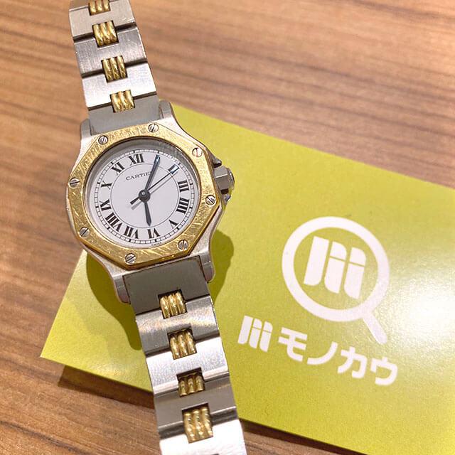 モノカウ玉造店にてカルティエの腕時計【サントス オクタゴンSM】を買取_01