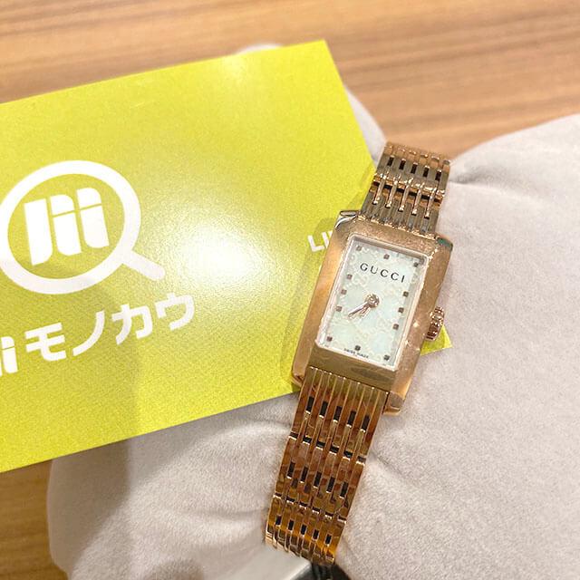 能美のお客様から宅配買取にてグッチのピンクゴールドの腕時計を買取_01