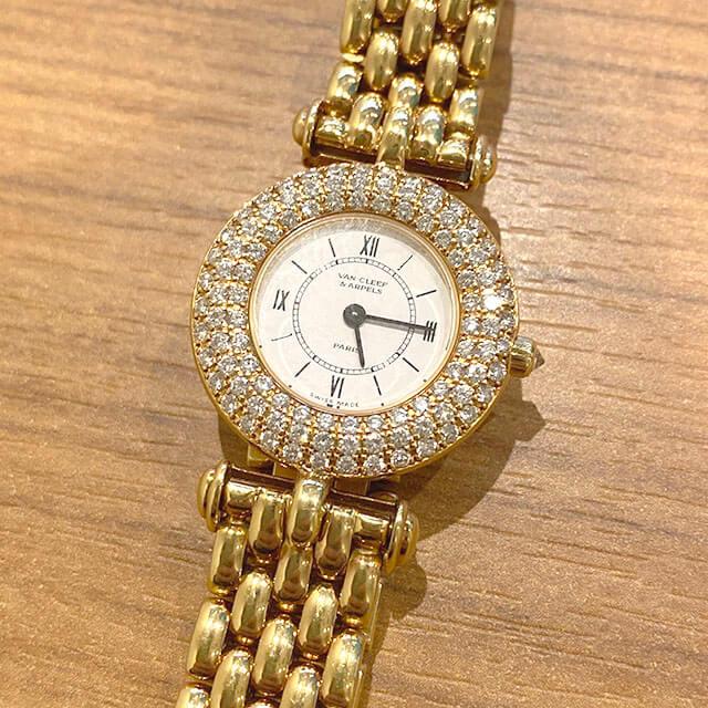 モノカウ玉造店にて東成のお客様からヴァンクリーフ&アーペルの【ダイヤベゼル×K18】腕時計を買取_02